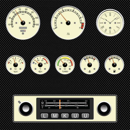 Retro styles car gauges fully layered Stock Vector - 8576410