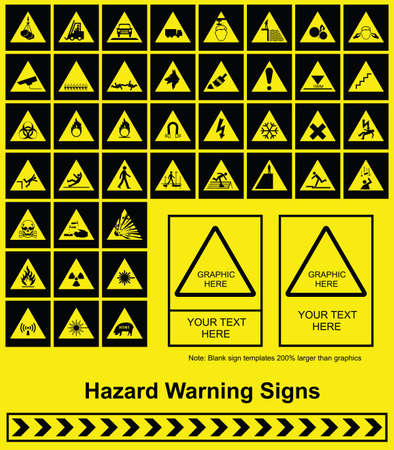 building safety: Make your own Hazard Warning sign graphics individually layered Illustration