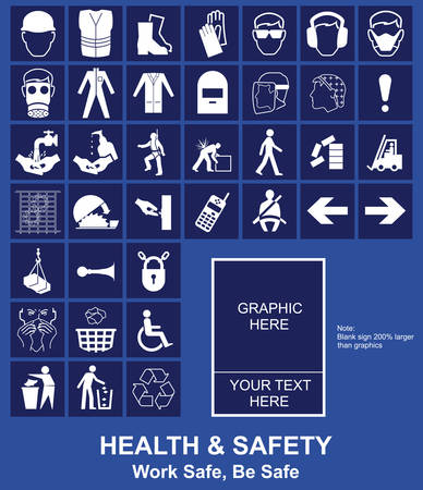 Make your own Health and Safety sign graphics individually layered Vector