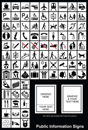 servicios publicos: Informaci�n p�blica signo gr�ficos individualmente en capas Vectores