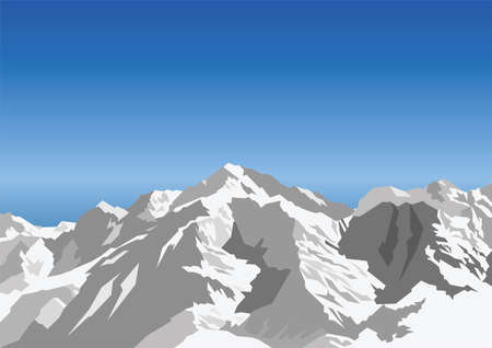 rocky: Snow capped mountain against a blue sky Stock Illustratie