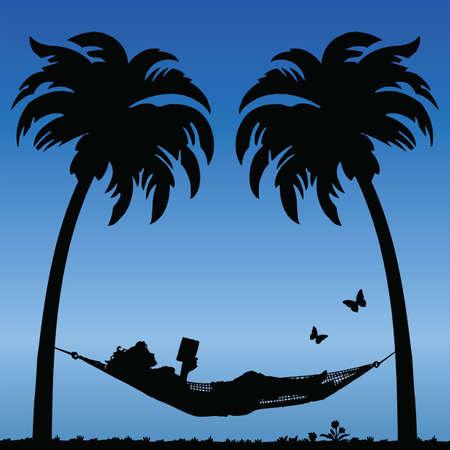 hamaca: Lectura de la mujer en una hamaca entre �rboles con�feros de Palm