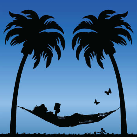 Woman Reading in a Hammock Between Palm Tress Vector