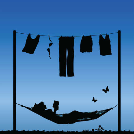 chores: Woman reading in a hammock after finishing the washing