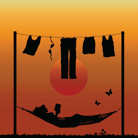 Woman reading in a hammock after finishing the washing Vector