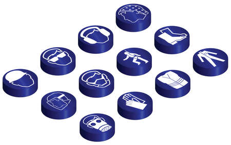 Mandatory construction related glossy isometric button set individually layered Vector