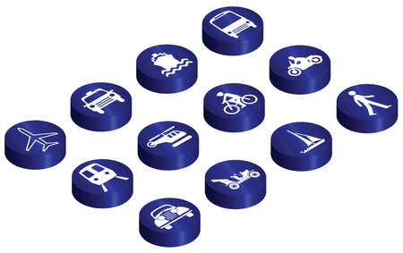 Various vehicle transport related glossy isometric button set Vector