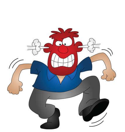 Dibujos animados angry man aislado en fondo blanco  Ilustración de vector