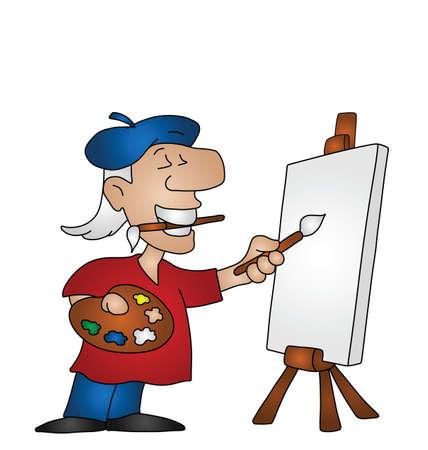 Cartoon kunstenaar met kopiëren ruimte op canvas voor eigen tekst of afbeelding Vector Illustratie