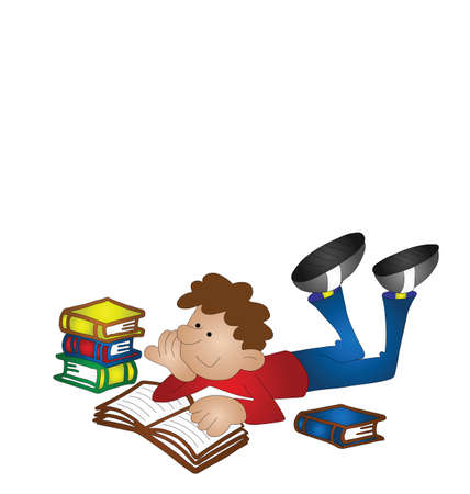 revision: Cartoon boy studying isolated on white background with copy space