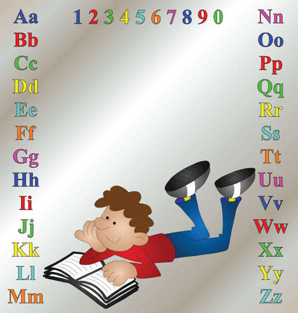 revision book: Children learning aid with cartoon boy reading