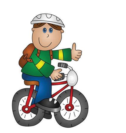 lad: Ni�o de dibujos animados en una bicicleta aislado en fondo blanco