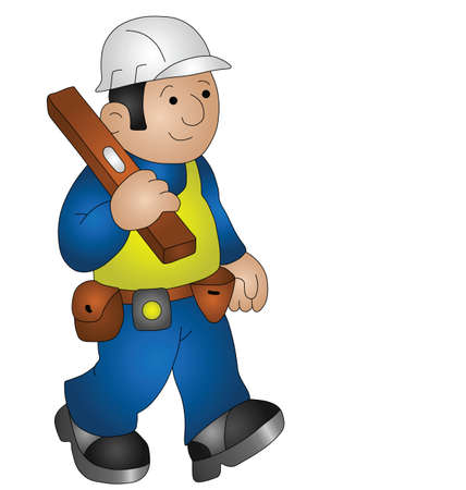 health and safety: Cartoon builder wearing personal protection equipment for health and safety