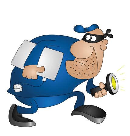 burglar: Ladro di Cartoon isolato su sfondo bianco con spazio di copia Vettoriali