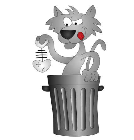 moggie: Cartoon cat scavenging for his lunch in a dustbin Illustration