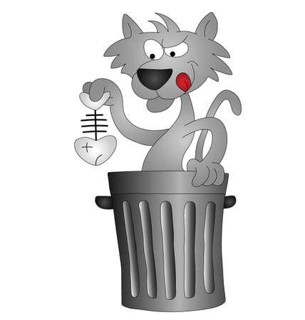 cartoon poes: Cartoon kat opruiming voor zijn lunch in een vuilnis bak