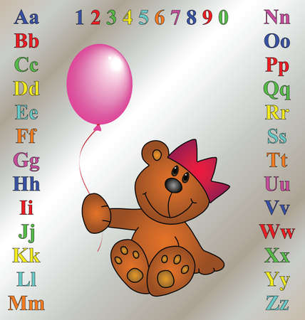 spelling: Children  learning aid with cartoon teddy bear Illustration
