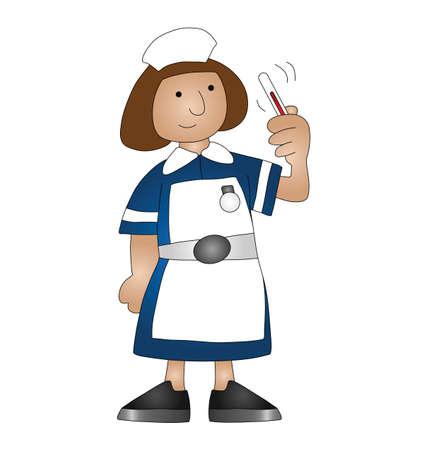 nursing treatment: Enfermera m�dico de dibujos animados aislado en fondo blanco