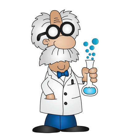 Cartoon scientist isolated on white background Vector