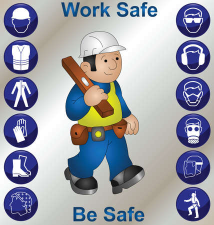 building safety: Builder wearing personal protection equipment and safety icons