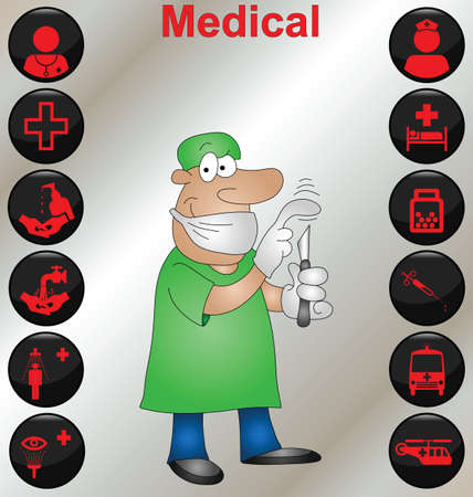 surgeon operating: Surgeon with a selection of medical icons