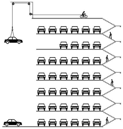 storey: Representation of cars parked in a milti storey car park Illustration