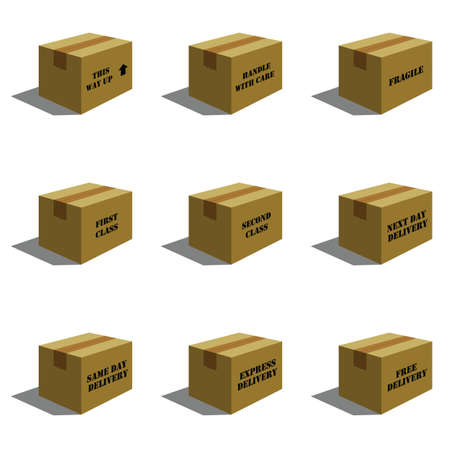 distributed: Cardboard Mail Boxes with various text  Illustration