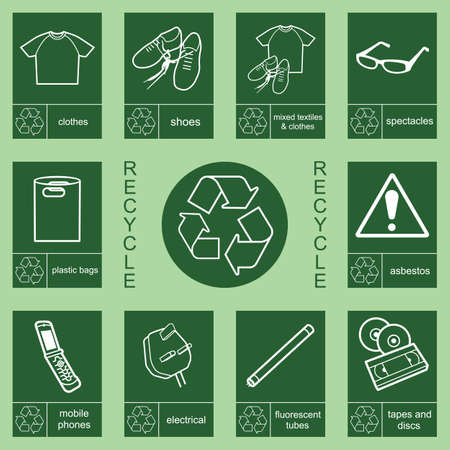 asbestos: Individually layered recycling sign collection 2