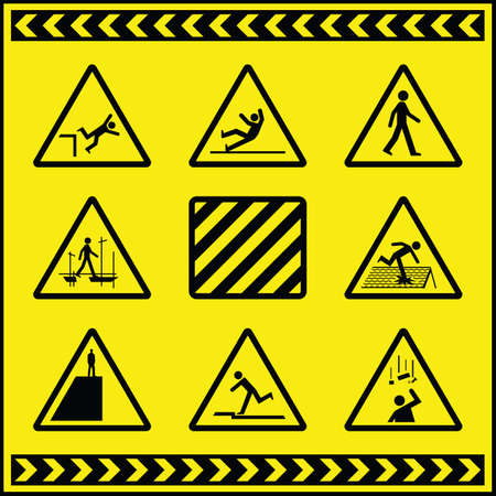 slips: Hazard Warning Signs 4 Illustration