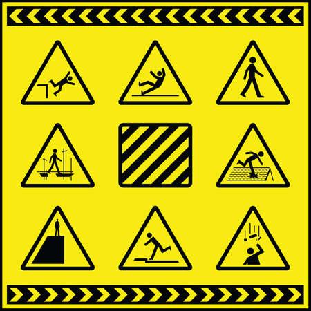 Znaki ostrzegawcze zagrożenia 4 Ilustracje wektorowe