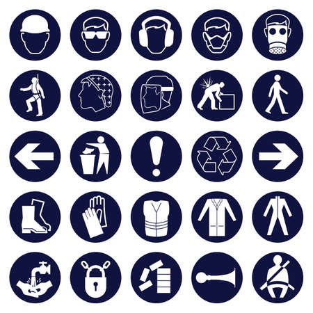 building safety: Mandatory Signage icon Collection Illustration