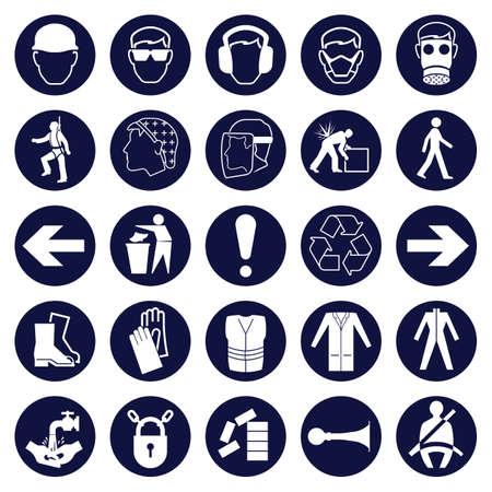 Obbligatorio Signage icona insieme Vettoriali