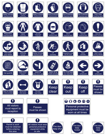 protective clothing: Mandatory Signage icon Collection Illustration