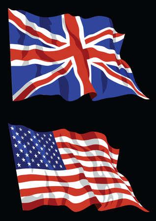 american flags: Banderas brit�nicas y estadounidenses