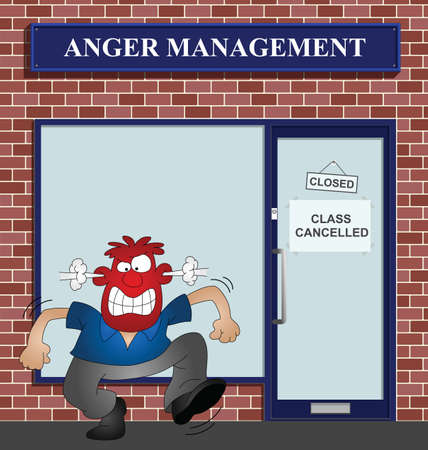 annoyance: Angry man at the anger management help centre Illustration