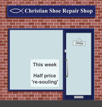 Christian shoe repair shop with half price resouling  Иллюстрация