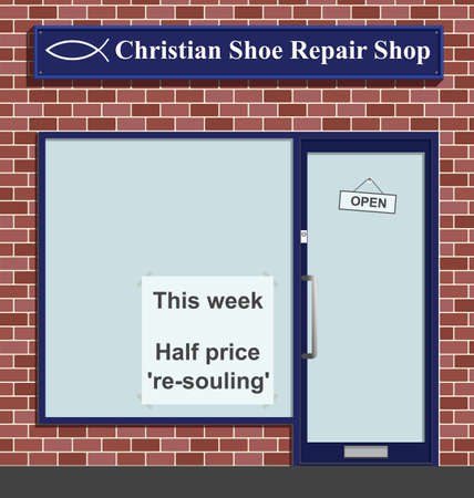 cobbler: Christian shoe repair shop with half price resouling  Illustration