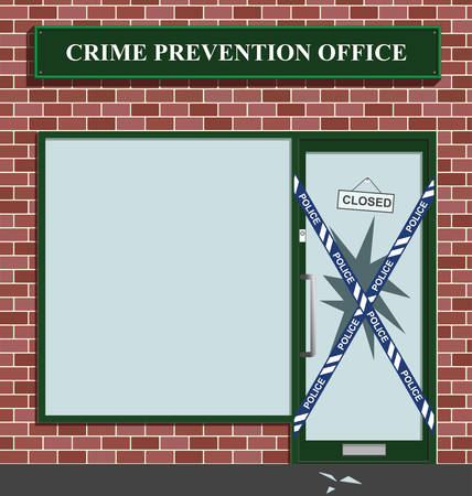 office theft: Police cordon at the crime prevention office break in Illustration