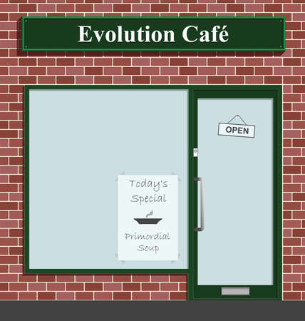 glass door: Evolution Cafe advertising todays special Primordial Soup