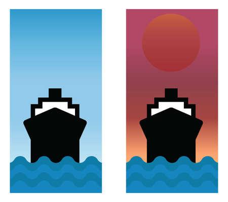 seafaring: Barco navegando los mares con cielo azul y la salida del sol