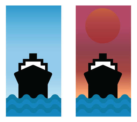 Boat sailing the seas with blue sky and sunrise Stock Vector - 8599852