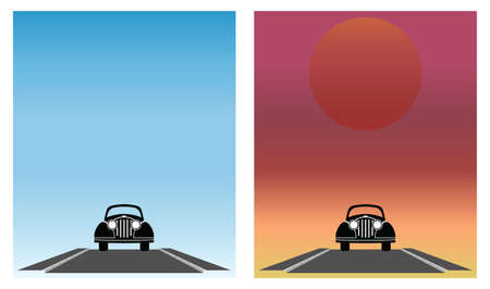 Old car travelling along a deserted road with blue sky and sunrise Stock Vector - 8599832