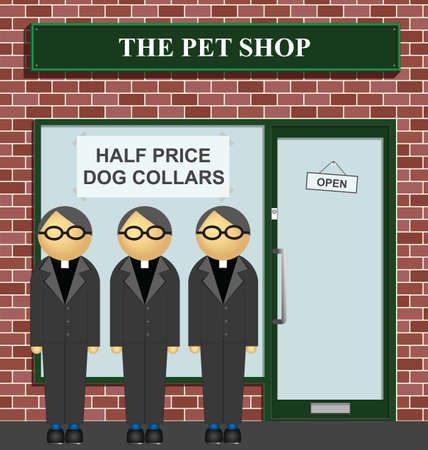 clergy: Clergy queuing for half price dog collars at the pet shop