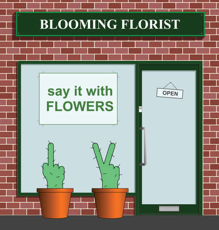 retailing: Say it with flowers florist with rude cacti