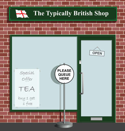 Polite queue sign at the Typically British Shop Stock Vector - 8614013