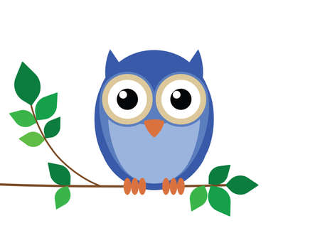 Wise old owl sat on a tree branch Stock Vector - 8614018