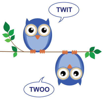 bough: Owls sat on a branch calling Twit Twoo Illustration