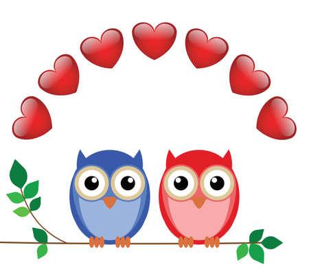 sat: Valentine girl and boy owls sat on a branch Illustration