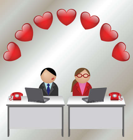 office romance: Valentine man and woman workers at their desks Illustration