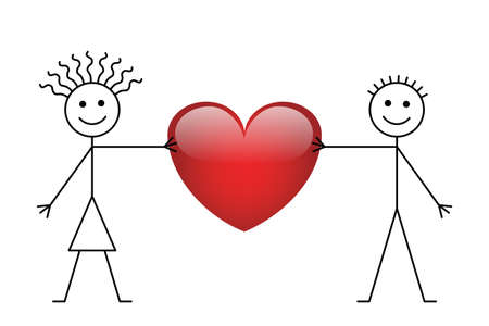 companion: Valentine stick boy and girl isolated on white background Illustration